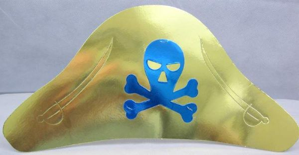 Party Hats Foil Pirate 6's in Bag with H High Seas Buccaneer Hijacker Sailor
